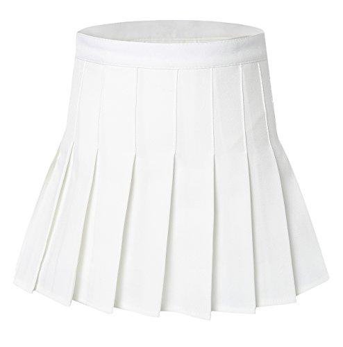 Tremour Women's Pleated High Waist Tennis Costumes Skirts(XL White) -