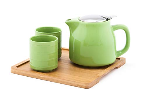 Fuji Merchandise Colorful Ceramic 20 fl oz Teapot with Two Matching Cups and Bamboo Tray Tea Set (Light Green)