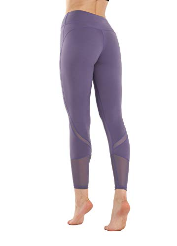 Womens Compression Capri Leggings - Tights for Running, Yoga, Working Out - High Waisted, Body Slimming Pants (Purple, Large)