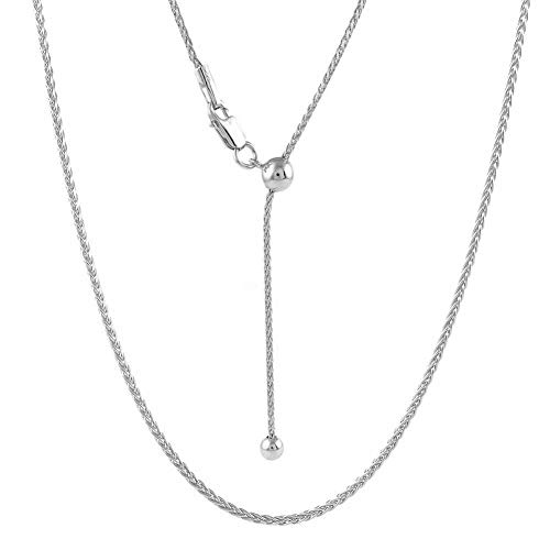 Sterling Silver 1.3MM Adjustable Wheat Chain Necklace 24' - Adjustable Fox Tail Spiga Necklace in 4 Colors (Sterling Silver)