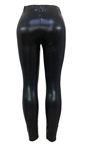 Vita Leggins Autunno Libero Tempo Clubwear Donna Elastica Solidi Pantaloni Grazioso Skinny Pelle Fashion Nero Colori Eleganti IxpwSP