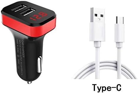 速い車の充電器、デュアルQC3.0ポートUSB車の充電器急速充電すべての電圧表示車の充電アダプタの互換性 (Color : Red)