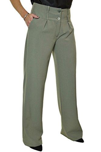 Ice (1272-5) Ladies Wide Leg Smart Soft City Pants Khaki Green (18) by icecoolfashion
