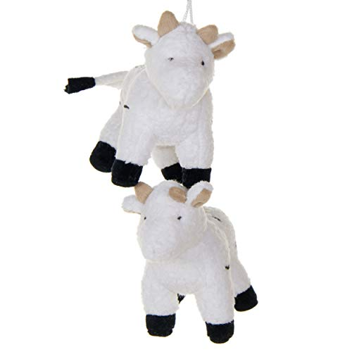 2 Pack of white Bulls Crib Mobile Attachments | Hanging Plush Animal Decorations for Baby Girl or Boy Playpen or Crib | Accessories for Use with Mobile Hanger Sold Separately