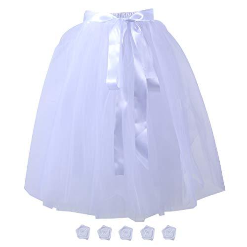 Women's Solid A Line Midi/Knee Length Tulle Skirt Grils's Tutu Skirt Formal Skirts Dance Tutu Flowers for DIY White