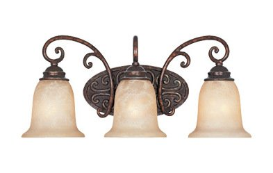 Burnt Umber Three Light Down Lighting 22in. Wide Bathroom Fixture from The Amherst - Light Umber Vanity 3