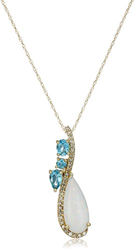 10k Yellow Gold Pear Shaped Created Opal and Swiss Blue T...