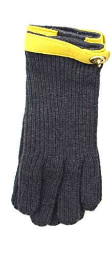 - Coach 82823 Women's Knit Turnlock Gloves Wool Leather Gray Yellow XS S