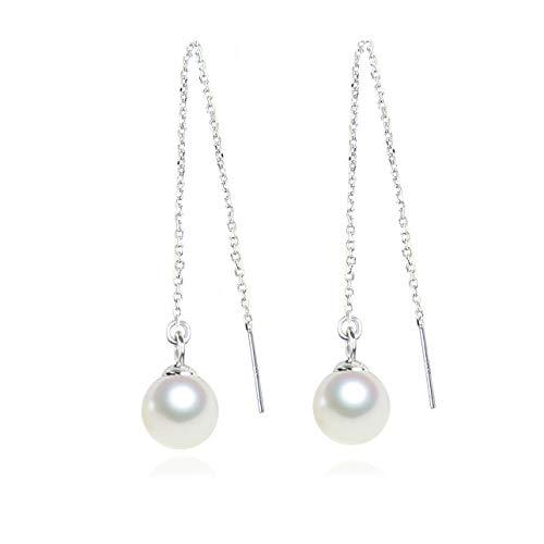 (6mm White Round Freshwater Cultured Pearl Drop Dangle Earrings Threader Sterling Silver Earrings for Women )