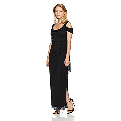 Alex Evenings Womens Long Cold Shoulder Dress with Side Ruched Skirt (Petite and Regular Sizes), Black, 14P