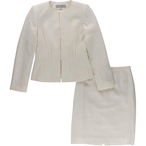 Tahari ASL Womens Petites Michael Crepe Pintuck Skirt Suit Ivory 0P