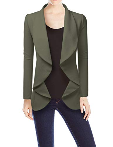 NINEXIS Womens Classic Draped Open Front Blazer Olive XL by NINEXIS (Image #4)