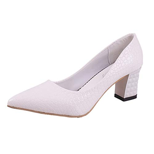 (Cenglings Women Sexy Snakeskin Solid Pointed Toe Pumps Wedding High Chunky Heel Slip On Shoes Single Shoes)