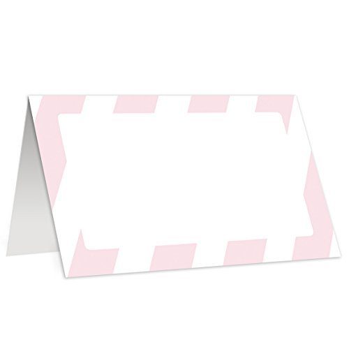 Blush Pink Stripe Place Cards (50 Pk) Double Sided Striped Placecard Baby Shower Escort Blank Fill In Name Table Tent Tented Folded Seat Food Buffet Label Girl Grad Party Decor (Stripes Reception Card)