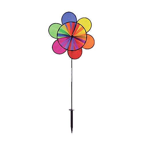 Rainbow Flower Windmill- Metal Decorative Spinner for Yard & ()