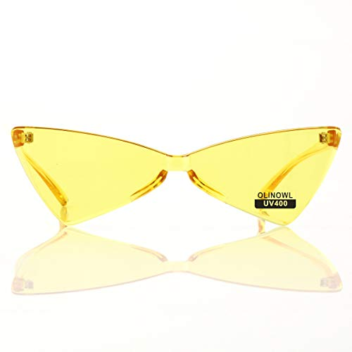 OLINOWL Triangle Rimless Sunglasses One Piece Colored Transparent Sunglasses For Women and ()