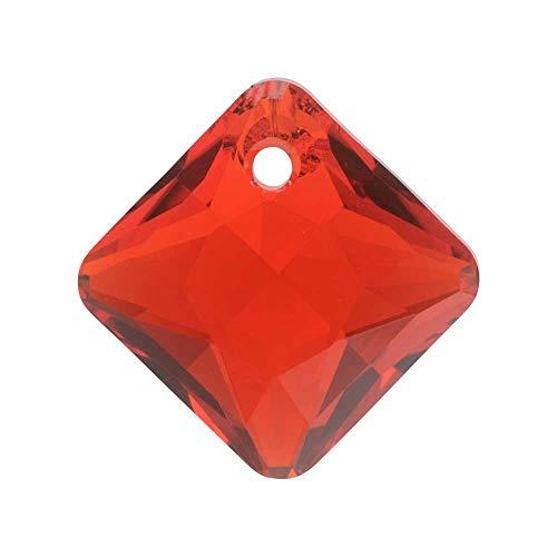 Swarovski Crystal, 6431 Princess Cut Pendant 16mm, 1 Piece, Light Siam