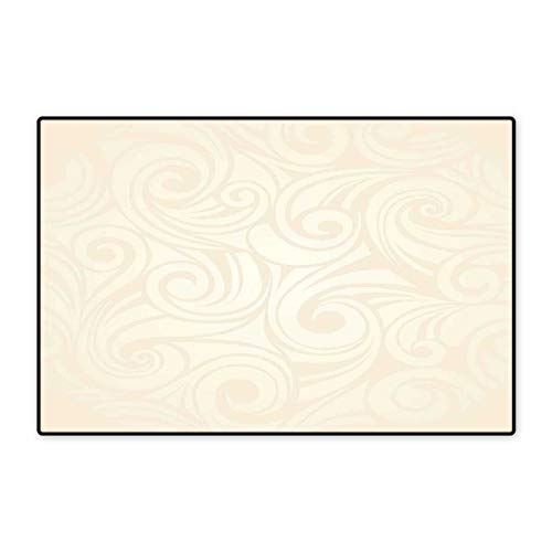 Ivory Door Mat Outside Victorian Curved Renaissance Style Leaves Branches Artistic Classic Petals Illustration Floor Mat Pattern 32