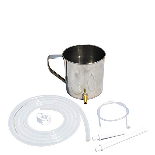 HealthAndWealth - Stainless Steel Enema Bucket Kit (1 Quart) Reusable for Colon Cleansing with Platinum Cured Medical Grade Silicone Hose Includes,Nozzle Tips. | Instruction Booklet