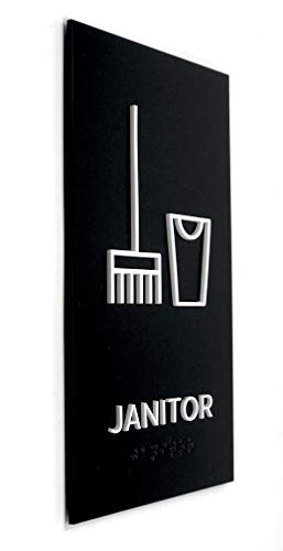Kubik Letters Janitor Sign, ADA Compliant Modern Design Door Sign with Grade 2 Braille for Janitor Closet Area with 3M Double Sided Tape