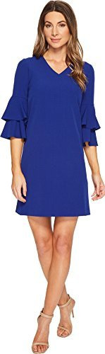 Tahari by ASL Women's 3/4 Bell Sleeve Crepe Sheath With V-Neckline Lapis 4 from Tahari ASL