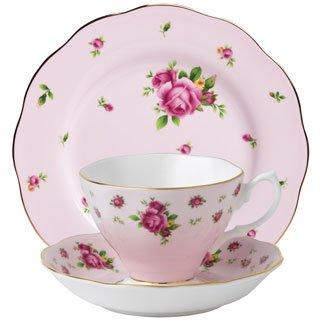 Royal Doulton Tea Saucer (Royal Albert 3-Piece New Country Roses Teacup, Saucer and Plate Set, Pink)