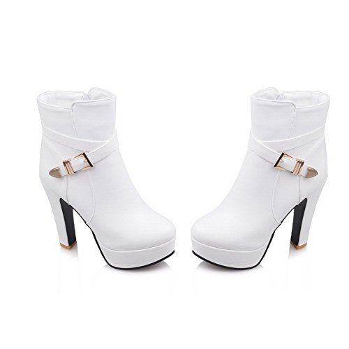 Allhqfashion Women's Zipper Round Closed Toe High Heels Pu Low Top Boots White oDTqf3gDn