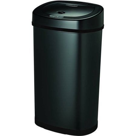 Nine Stars Motion Sensor Touchless 13.2-Gallon Trash Can, Black