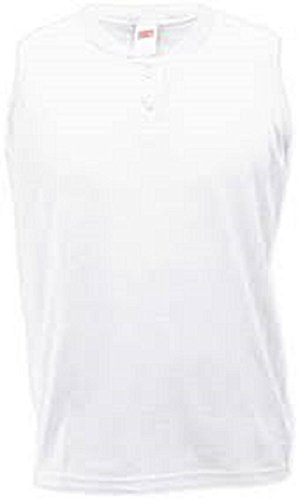 - Soffe Ladies Sleeveless White Two-Button Henley-LARGE