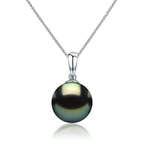 CHAULRI Real Gold 9-10mm Tahitian Black Pearl 18K Pendant Necklace w/ 18 Inch 18K Gold Chain - Jewelry Gifts for Women (White-Gold)