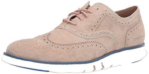 Cole Haan Men's Zerogrand Wing OX Oxford, Denim Extra Camel Suede/Nautical Blue/Ivory, 11 W US
