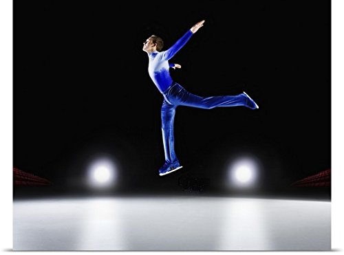 Great BIG Canvas Poster Print entitled Man performing, Ice skating jump