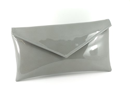 Loni Womens Neat Envelope Faux Leather Patent Clutch Bag/Shoulder Bag in Grey by LONI