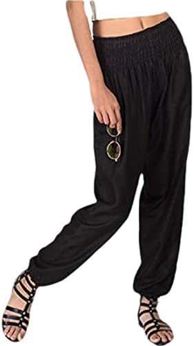 Qiangjinjiu 女性弾性ウエストワイド脚ポケット付きカジュアルカジュアルハーランズボンパンツ