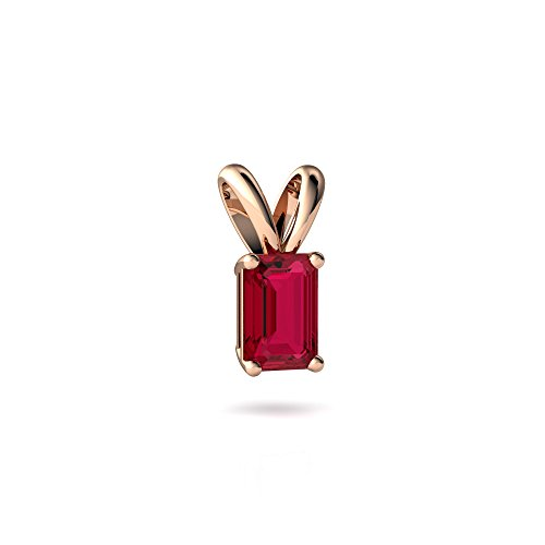Gold Emerald 6x4 14kt (14kt Rose Gold Lab Ruby 6x4mm Emerald_Cut Solitaire Pendant)