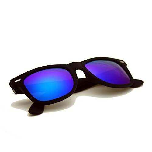 Zacway Polarized Horn Rimmed Sunglasses Color Mirror Lens Matte Finish (Black / Blue-Green, - Style Sunglasses Wafer