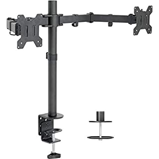 "VIVO Dual LCD Monitor Desk Mount Stand Heavy Duty Fully Adjustable fits 2 /Two Screens up to 27"" (STAND-V002)"