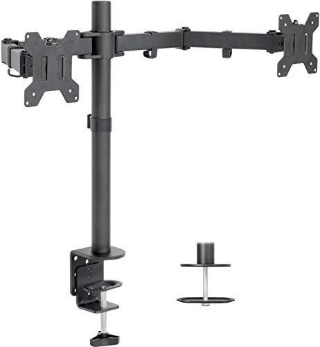 VIVO Dual LCD LED Monitor Desk Mount Stand with C-clamp and Bolt-Through Grommet Options | Heavy Duty Fully Adjustable Arms Hold 2 Screens up to 27 inches (STAND-V002)