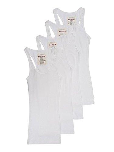 4 Pack Zenana Women's Ribbed Tank Top Med, White (Tank Racerback Ribbed Top)