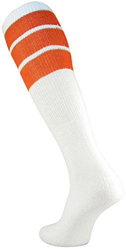 TCK Retro 3 Stripe Tube Socks, Orange, - Retro Orange