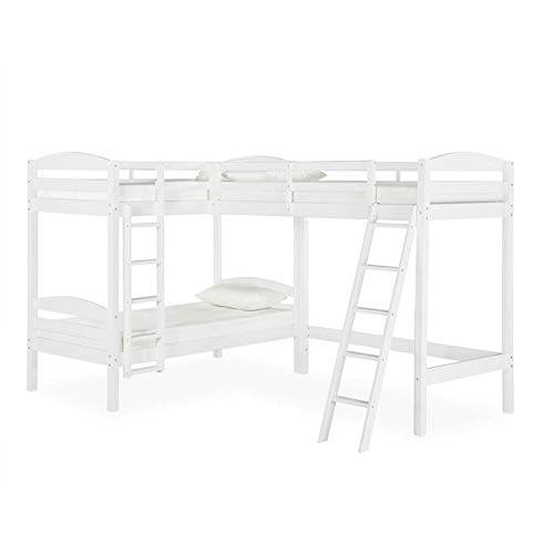 Dorel Living Clearwater Triple, White Bunk Beds,