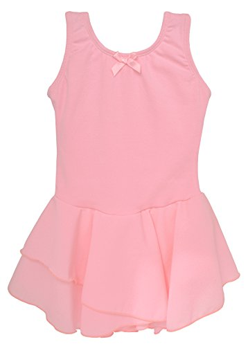 Gymnastic Rhythmic Costumes (Dancina Leotard Tank Top Dress Short Sleeve Disney Princess Fairy Dress Up Leo Costume 8 Light Pink)