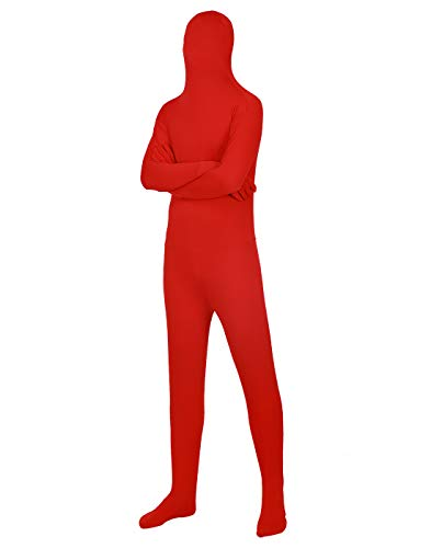 HDE Full Body Supersuit Halloween Costume Adult Sized Footed Face Covering Stretch Zentai Spandex Outfit (Red, X-Large)
