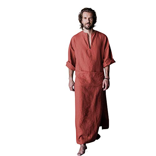 - 7 VEILS Men's Linen Robe Casual Kaftan Cotton Thobe V Neck Long Gown Side with Pockets Caftan (XL, Brick Red)