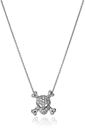 """Roberto Coin """"Tiny Treasures"""" 18k White Gold Skull and Crossbones Pendant Necklace (1/5cttw, G-H Color, SI1 Clarity)"""