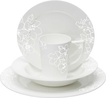 Good Forma Fine Bone China White Embossed 16 Piece Dinner Set, Gift Boxed
