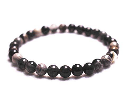 """Wholesale Natural 6mm Black Silver Leaf Jasper Bracelet,Jewelry Bracelet,Gift Bracelet Wholesale.Gemstone Beaded Stretch Bracelet 6mm Round Beads 7.2"""" Unisex (Black Silver Leaf Jasper,6mm)"""