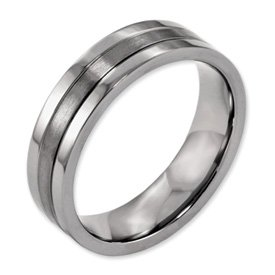 Best Quality Free Gift Box Titanium Grooved 6mm Brushed And Polished Band