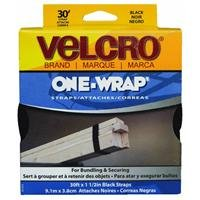 VELCRO Brand - ONE-WRAP Roll, Double-Sided, Self Gripping Multi-Purpose Hook and Loop Tape, Reusable, 30' x 1 1/2'' Roll - Black