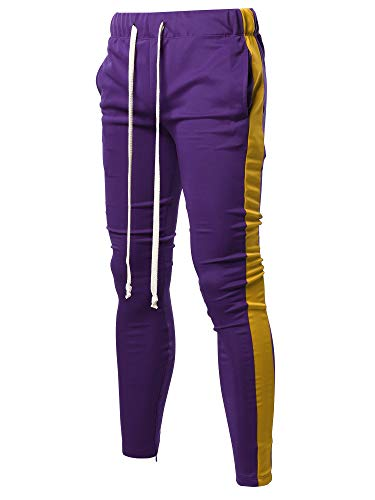 Style by William Casual Side Panel Long Length Ankle Zipper Track Pants Purple Yellow ()